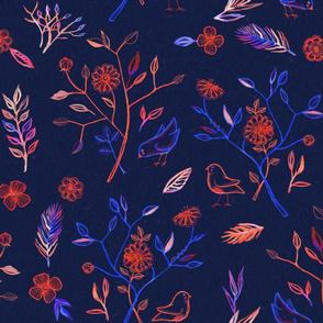 Little Birds in the Garden - navy, cobalt & bright coral