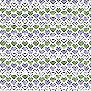 Pixel Heart (Purple, White, and Green) Chevron