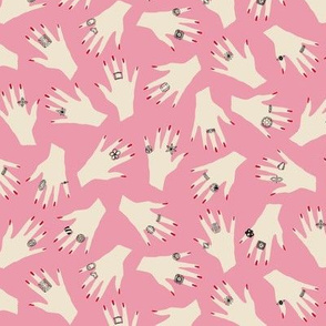 Audrey (Pink) || hand rings costume jewelry fashion beauty