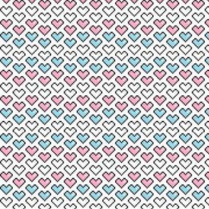 Pixel Heart (Pink, Blue, White) Chevron