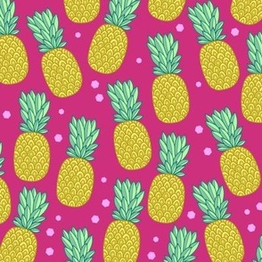pineapples on hot pink
