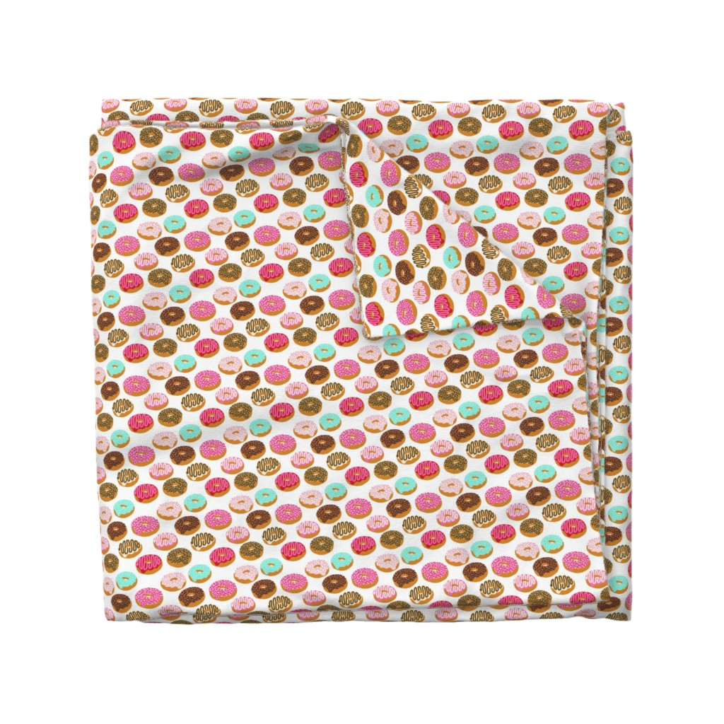 Wyandotte Duvet Cover featuring donuts pink chocolate strawberry yummy food print by charlottewinter