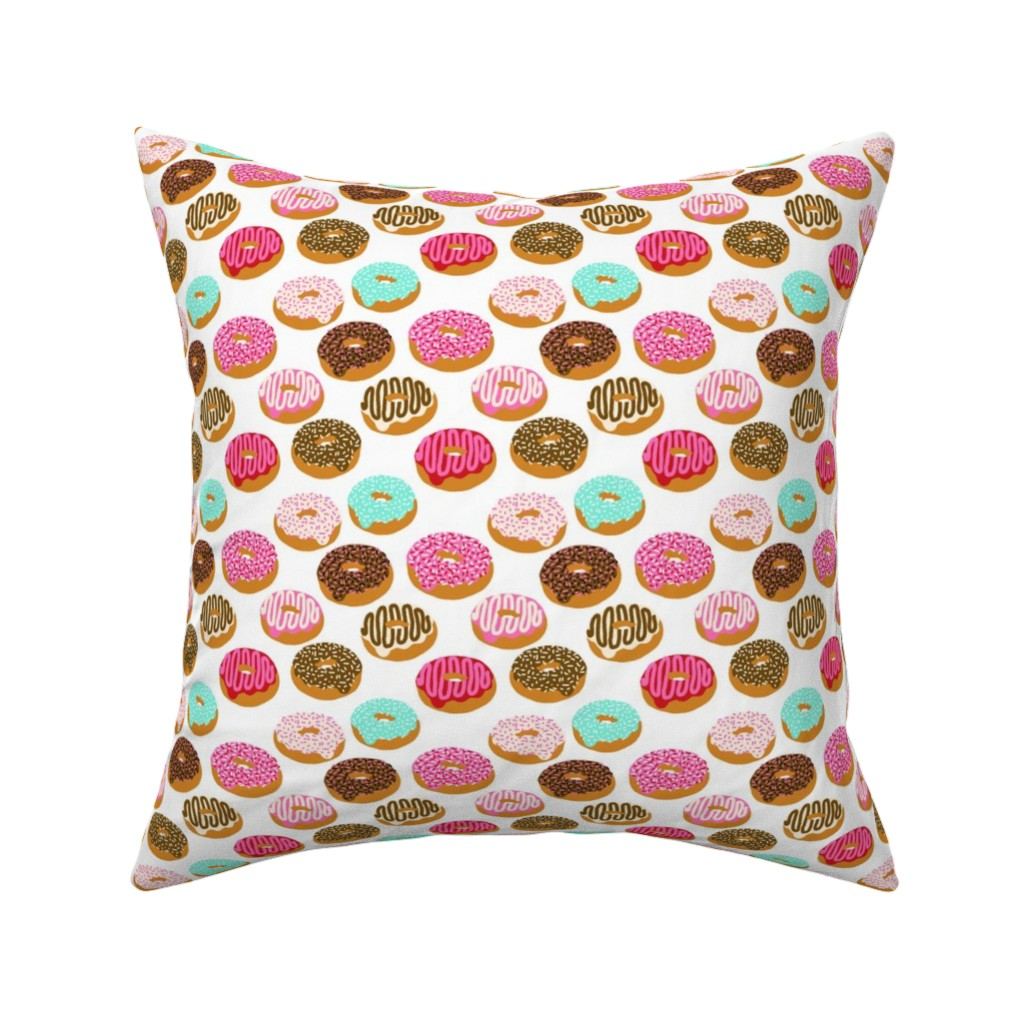 Catalan Throw Pillow featuring donuts pink chocolate strawberry yummy food print by charlottewinter