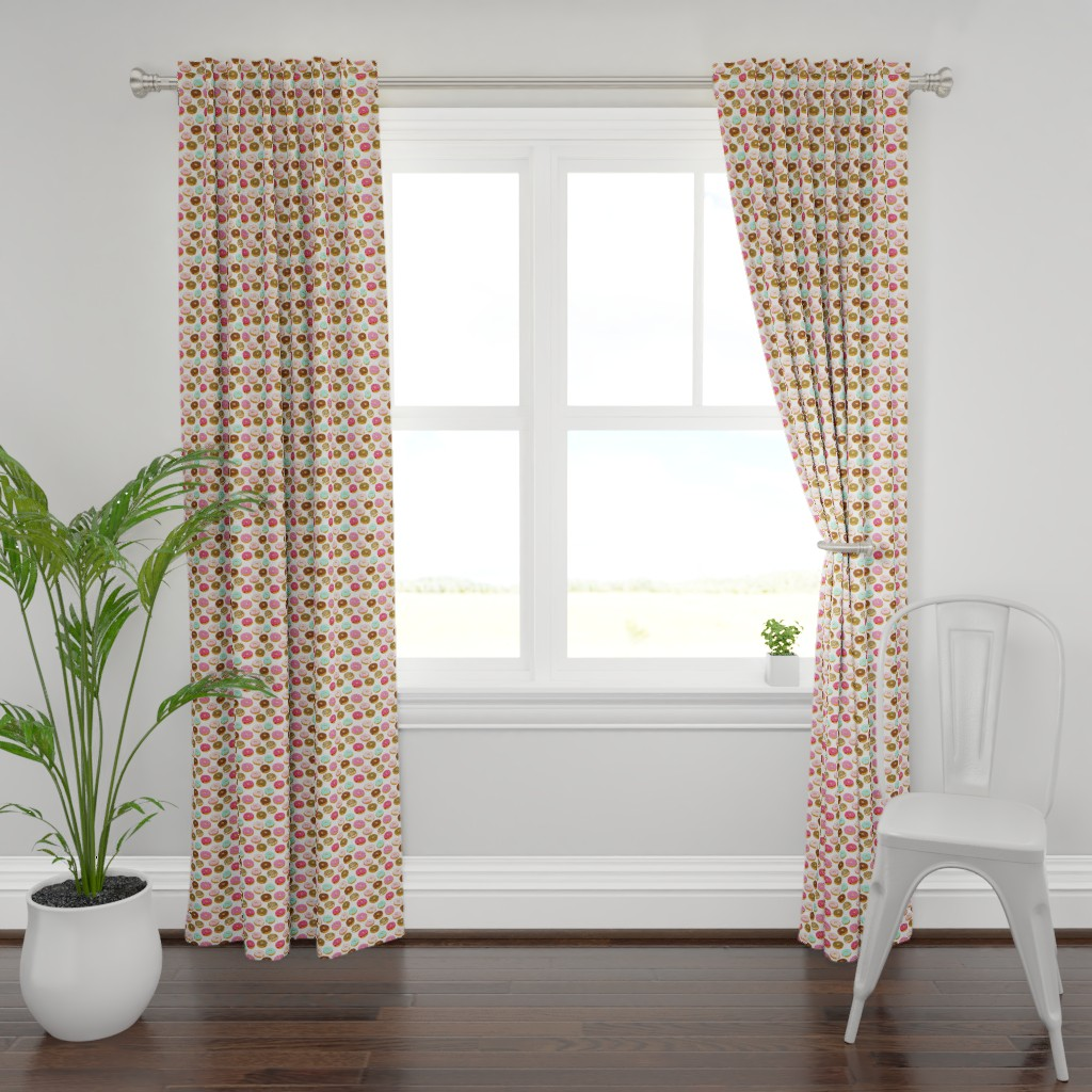 Plymouth Curtain Panel featuring donuts pink chocolate strawberry yummy food print by charlottewinter