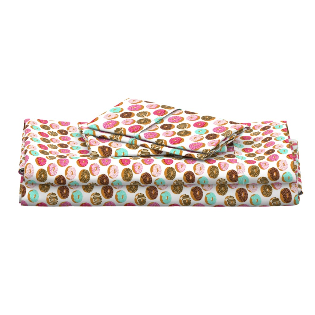 Langshan Full Bed Set featuring donuts pink chocolate strawberry yummy food print by charlottewinter