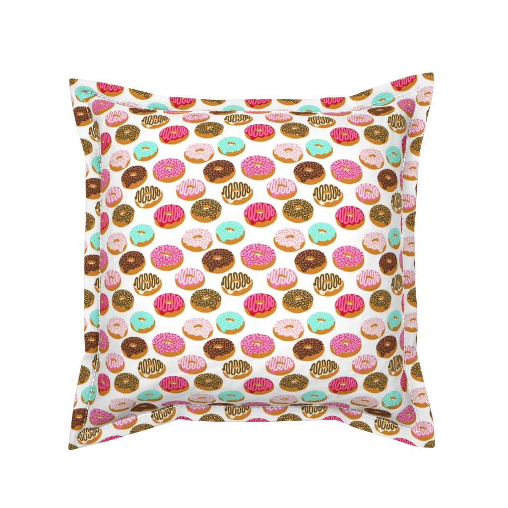 Serama Throw Pillow featuring donuts pink chocolate strawberry yummy food print by charlottewinter