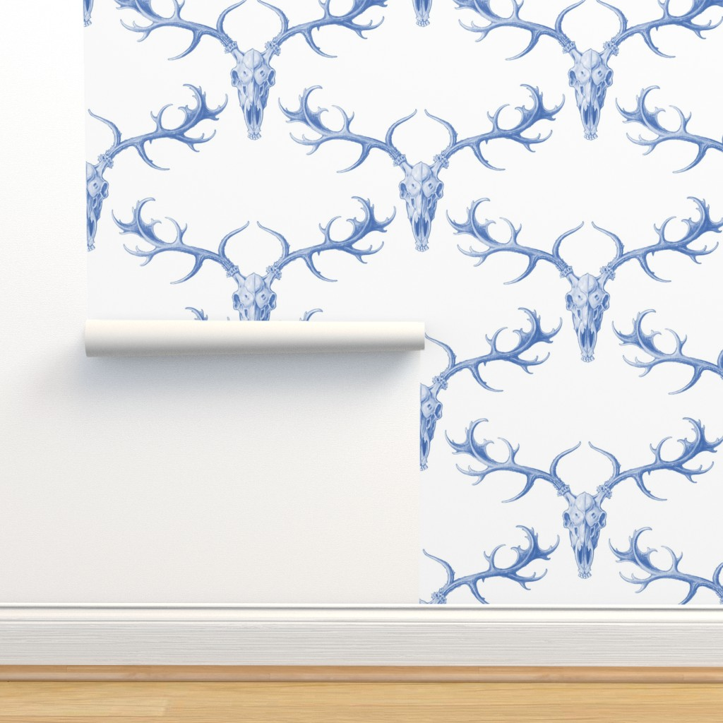Isobar Durable Wallpaper featuring DigSkullery ~ Blue and White by peacoquettedesigns