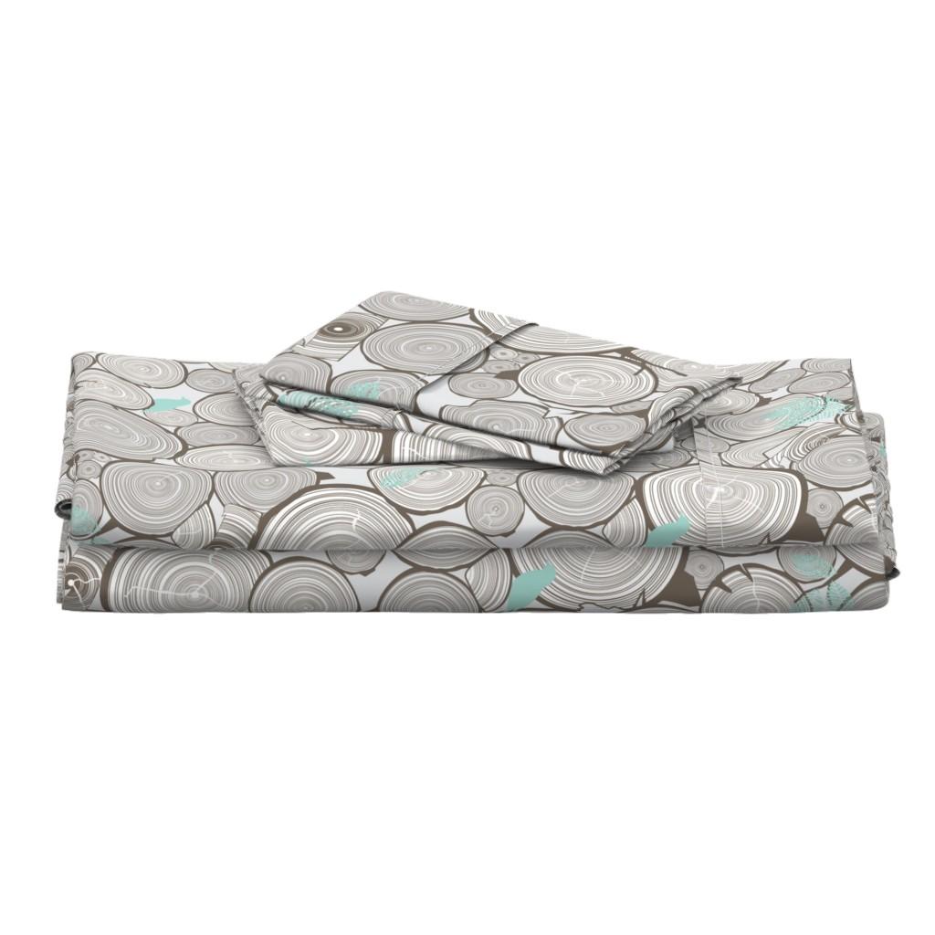 Langshan Full Bed Set featuring Woodshop Woodpile by papercanoefabricshop
