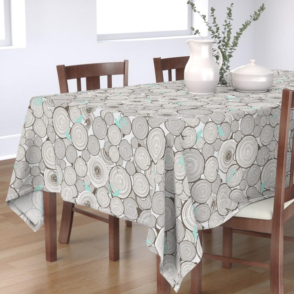 Bantam Rectangular Tablecloth featuring Woodshop Woodpile by papercanoefabricshop
