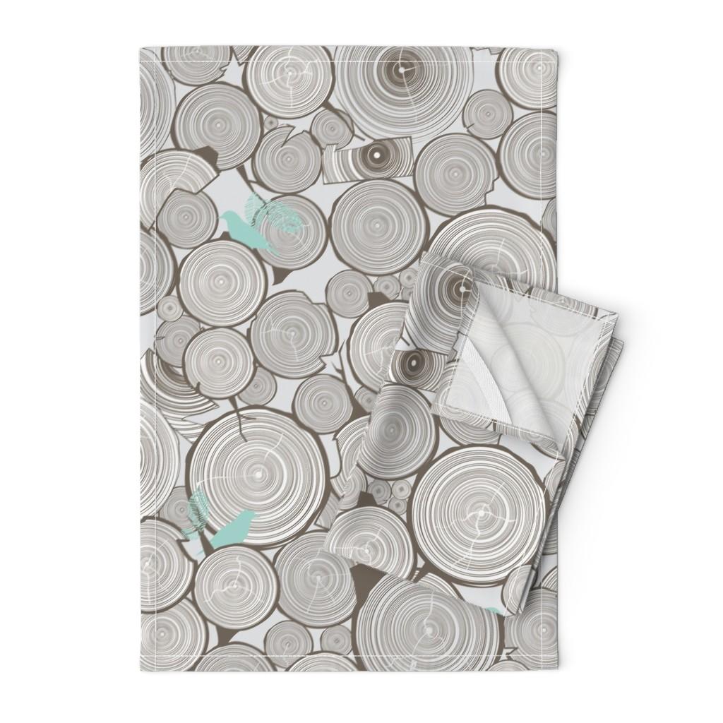 Orpington Tea Towels featuring Woodshop Woodpile by papercanoefabricshop