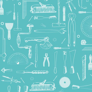 Sketches of workshop tools turquoise