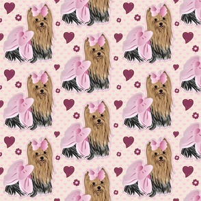 Yorkie Savannah Pink Hearts Large Print