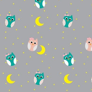 Teal and Pink Owls