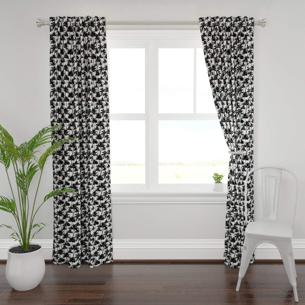 Plymouth Curtain Panel featuring palm trees - black and white, small. black palm tree silhuettes white background black and white monochrome tropical palm leaves summer tropical forest plant hot sunset pattern fabric wallpaper giftwrap by mirabelleprint