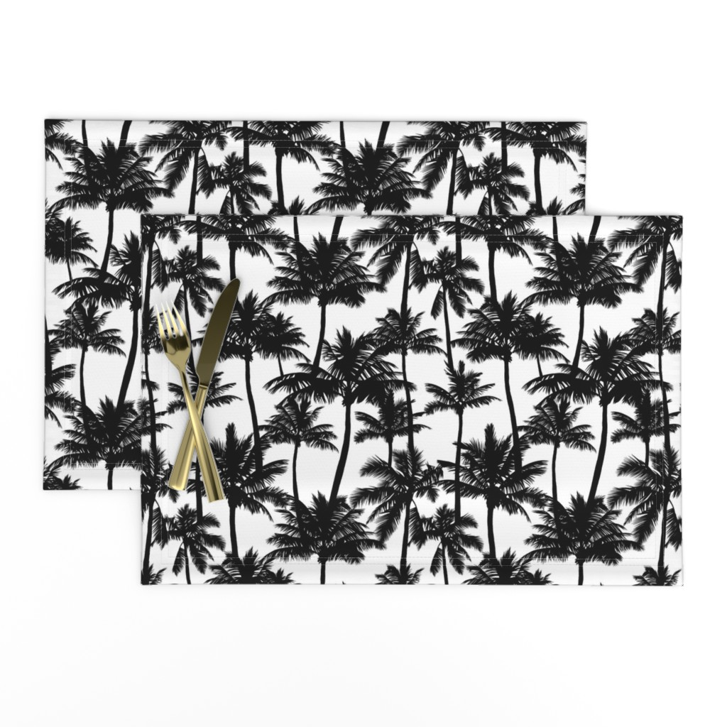 Lamona Cloth Placemats featuring Palm Trees / Black And White / Small Scale by mirabelle_print