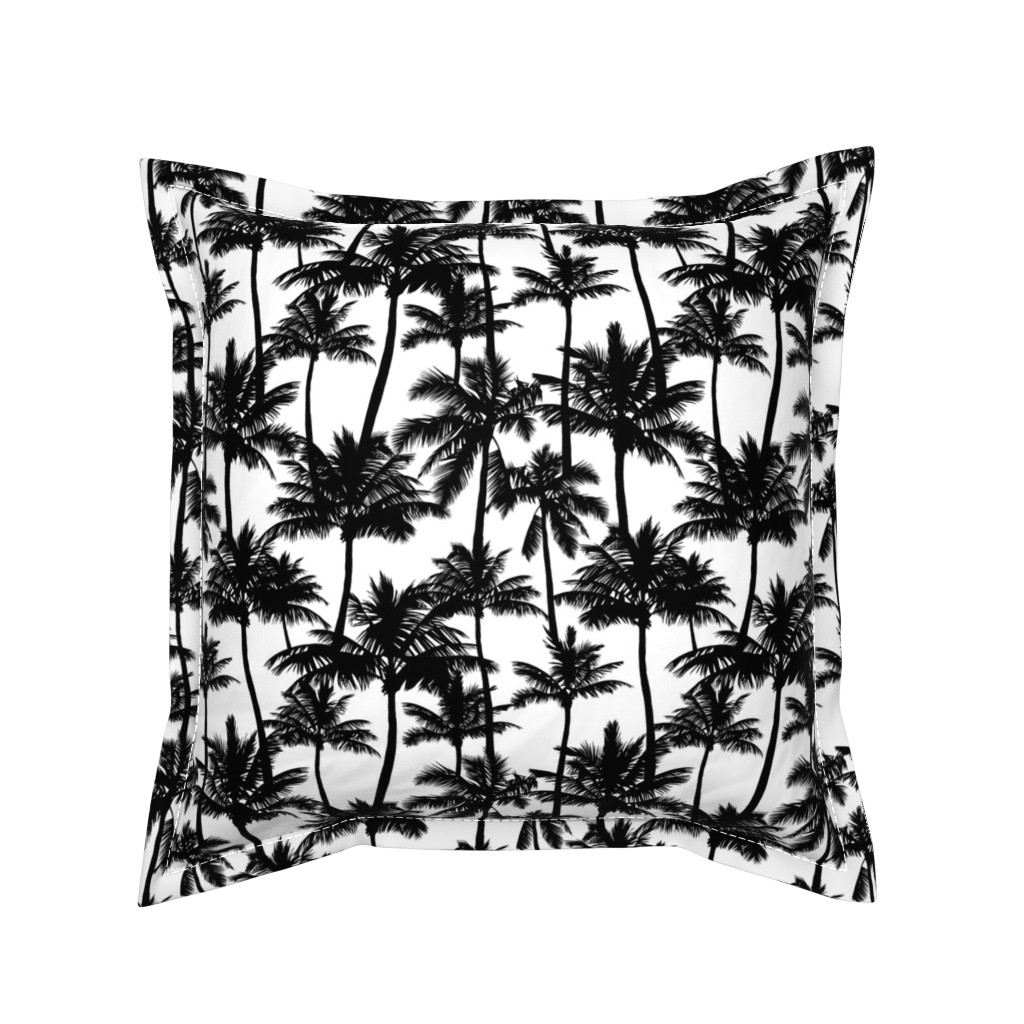 Serama Throw Pillow featuring palm trees - black and white, small. black palm tree silhuettes white background black and white monochrome tropical palm leaves summer tropical forest plant hot sunset pattern fabric wallpaper giftwrap by mirabelleprint