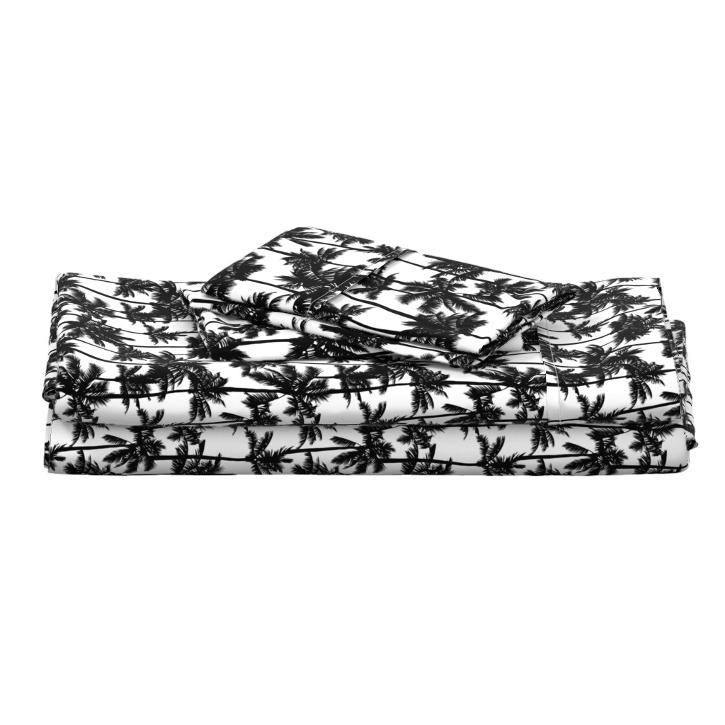 Langshan Full Bed Set featuring palm trees - black and white, small. black palm tree silhuettes white background black and white monochrome tropical palm leaves summer tropical forest plant hot sunset pattern fabric wallpaper giftwrap by mirabelleprint