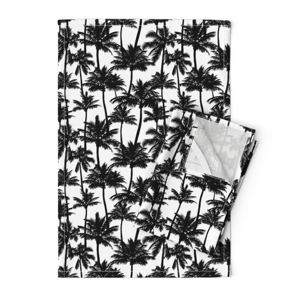 Orpington Tea Towels featuring palm trees - black and white, small. black palm tree silhuettes white background black and white monochrome tropical palm leaves summer tropical forest plant hot sunset pattern fabric wallpaper giftwrap by mirabelleprint