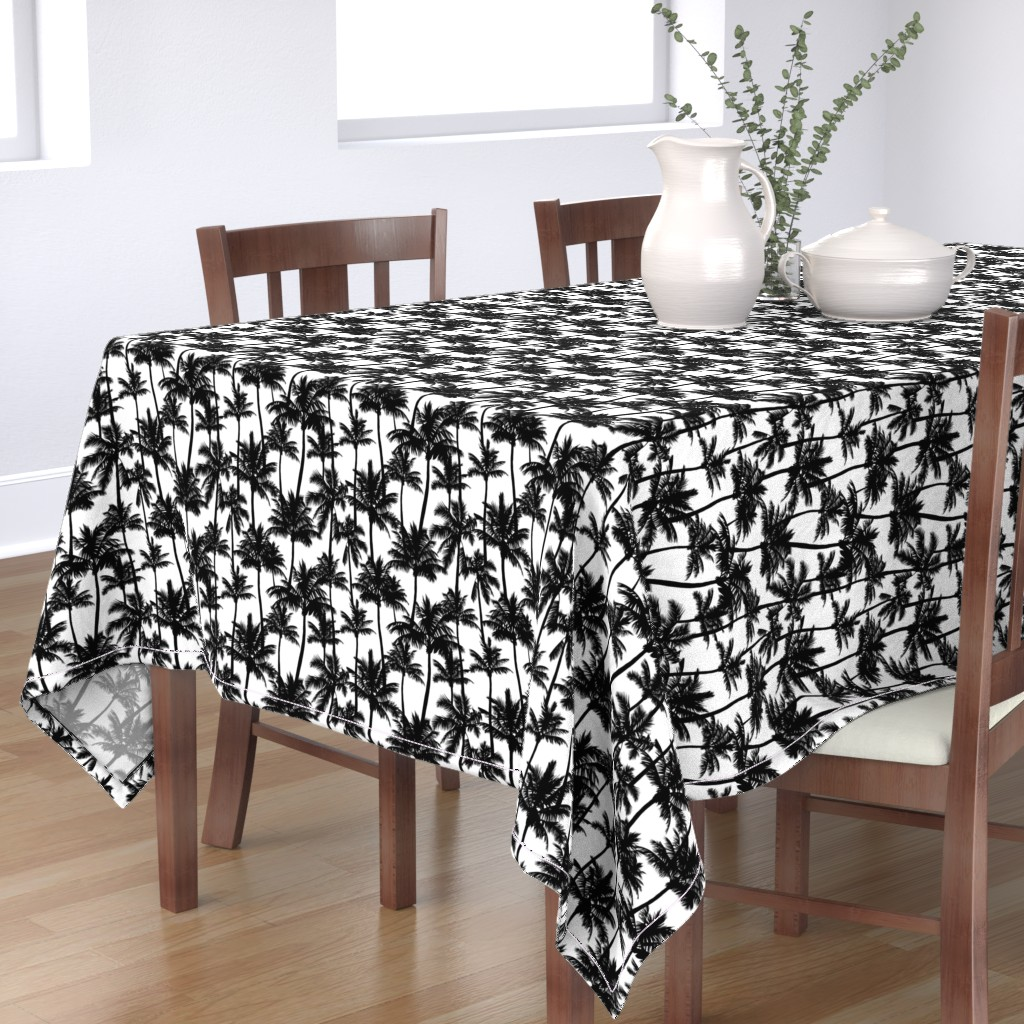 Bantam Rectangular Tablecloth featuring palm trees - black and white, small. black palm tree silhuettes white background black and white monochrome tropical palm leaves summer tropical forest plant hot sunset pattern fabric wallpaper giftwrap by mirabelleprint