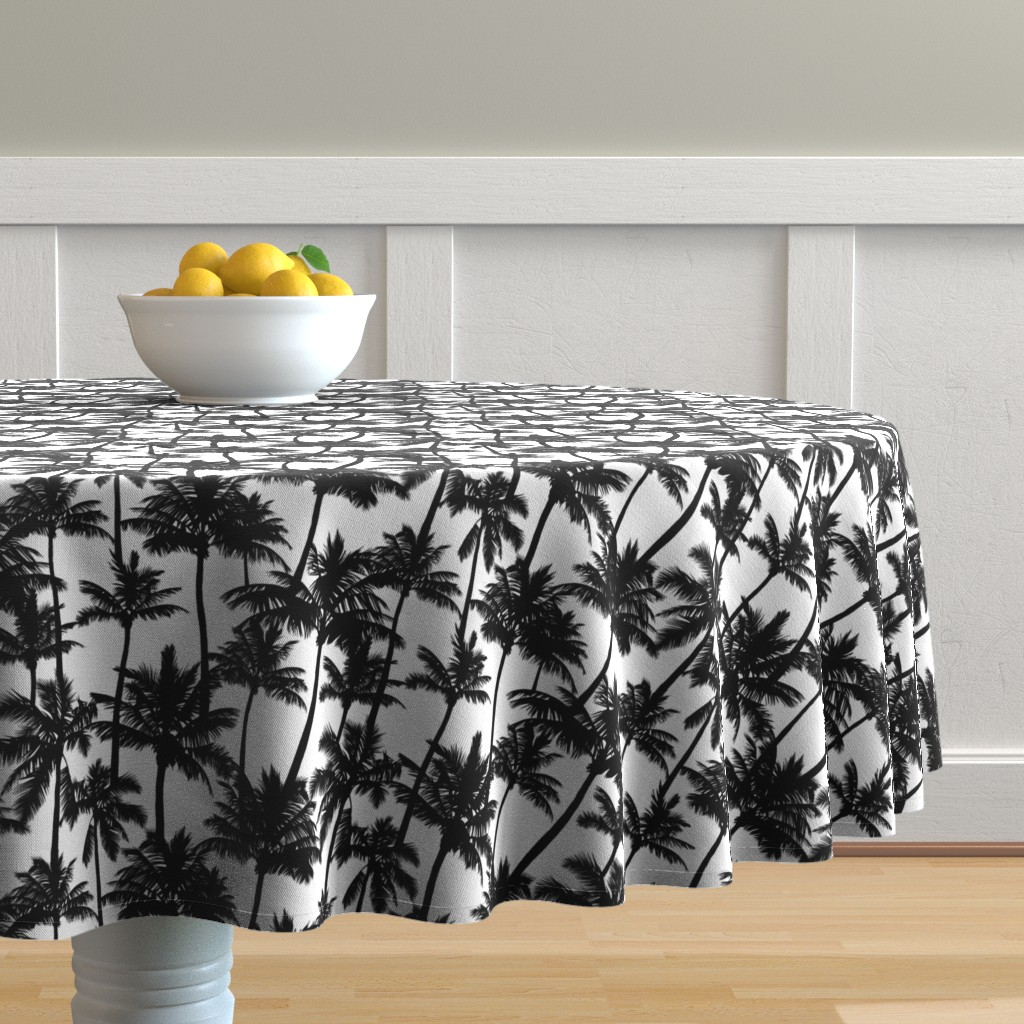 Malay Round Tablecloth featuring palm trees - black and white, small. black palm tree silhuettes white background black and white monochrome tropical palm leaves summer tropical forest plant hot sunset pattern fabric wallpaper giftwrap by mirabelleprint