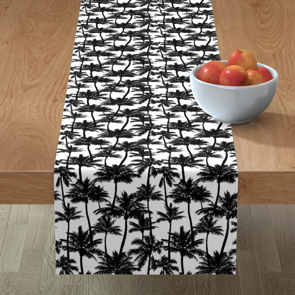 Minorca Table Runner featuring palm trees - black and white, small. black palm tree silhuettes white background black and white monochrome tropical palm leaves summer tropical forest plant hot sunset pattern fabric wallpaper giftwrap by mirabelleprint