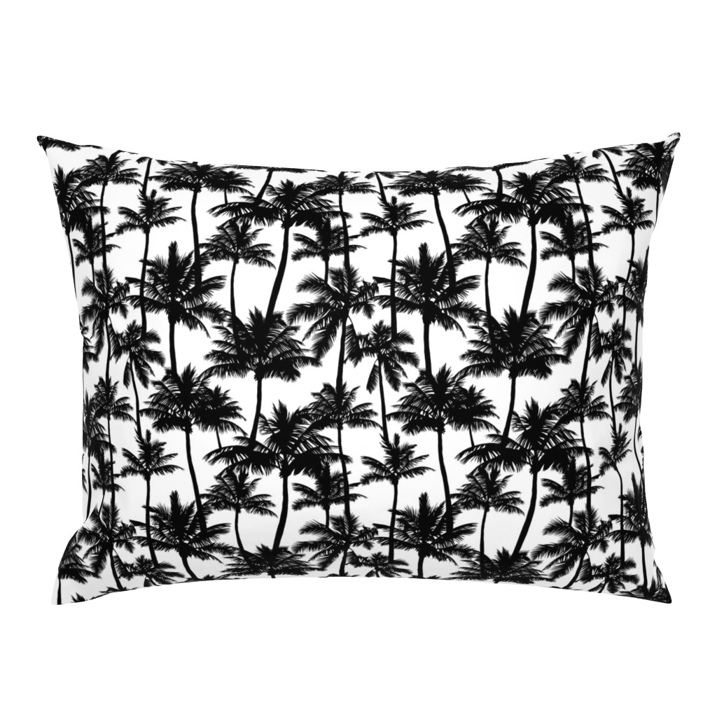 Campine Pillow Sham featuring palm trees - black and white, small. black palm tree silhuettes white background black and white monochrome tropical palm leaves summer tropical forest plant hot sunset pattern fabric wallpaper giftwrap by mirabelleprint