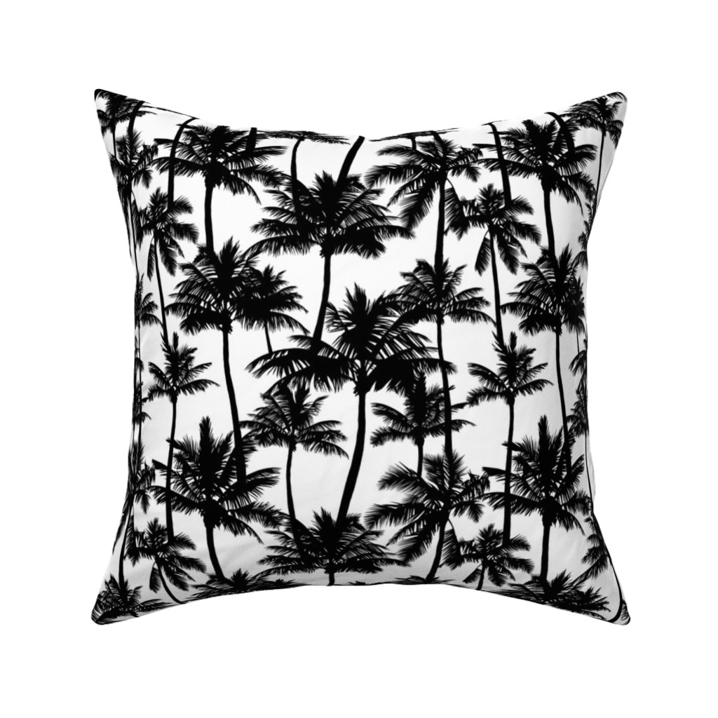 Catalan Throw Pillow featuring palm trees - black and white, small. black palm tree silhuettes white background black and white monochrome tropical palm leaves summer tropical forest plant hot sunset pattern fabric wallpaper giftwrap by mirabelleprint