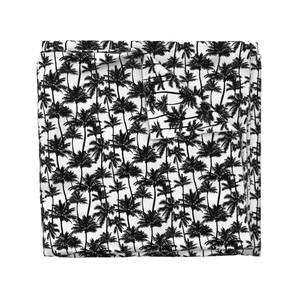 Wyandotte Duvet Cover featuring palm trees - black and white, small. black palm tree silhuettes white background black and white monochrome tropical palm leaves summer tropical forest plant hot sunset pattern fabric wallpaper giftwrap by mirabelleprint