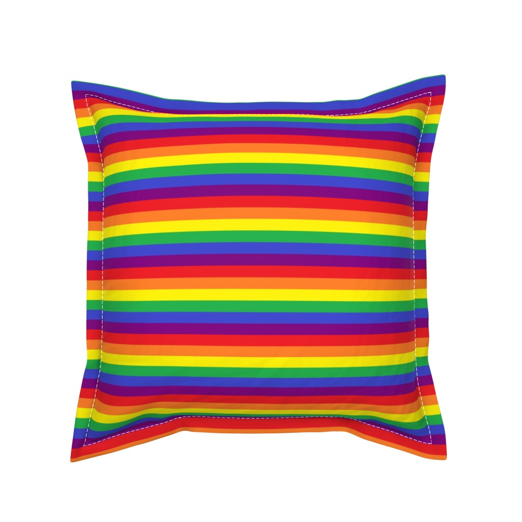 Serama Throw Pillow featuring Rainbow Pride Stripes by abandonedwarehouse