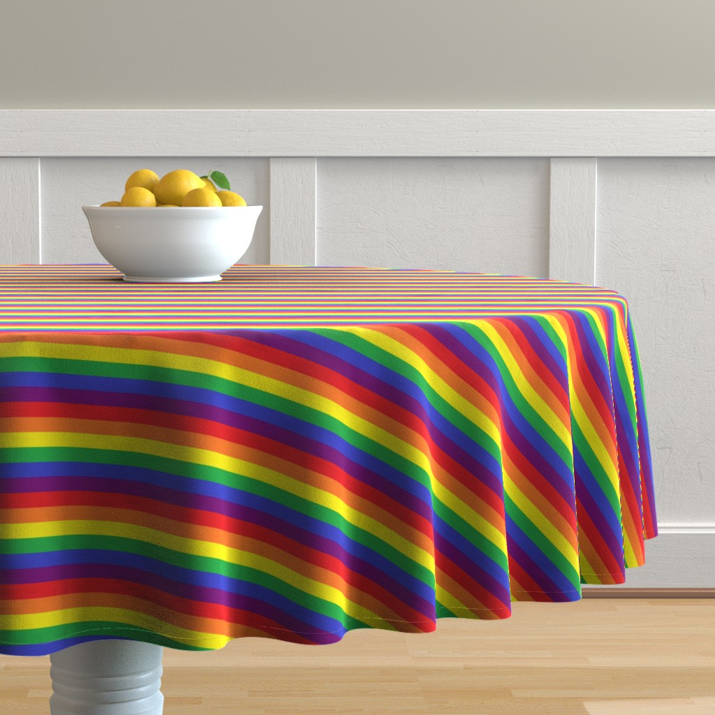Malay Round Tablecloth featuring Rainbow Pride Stripes by abandonedwarehouse
