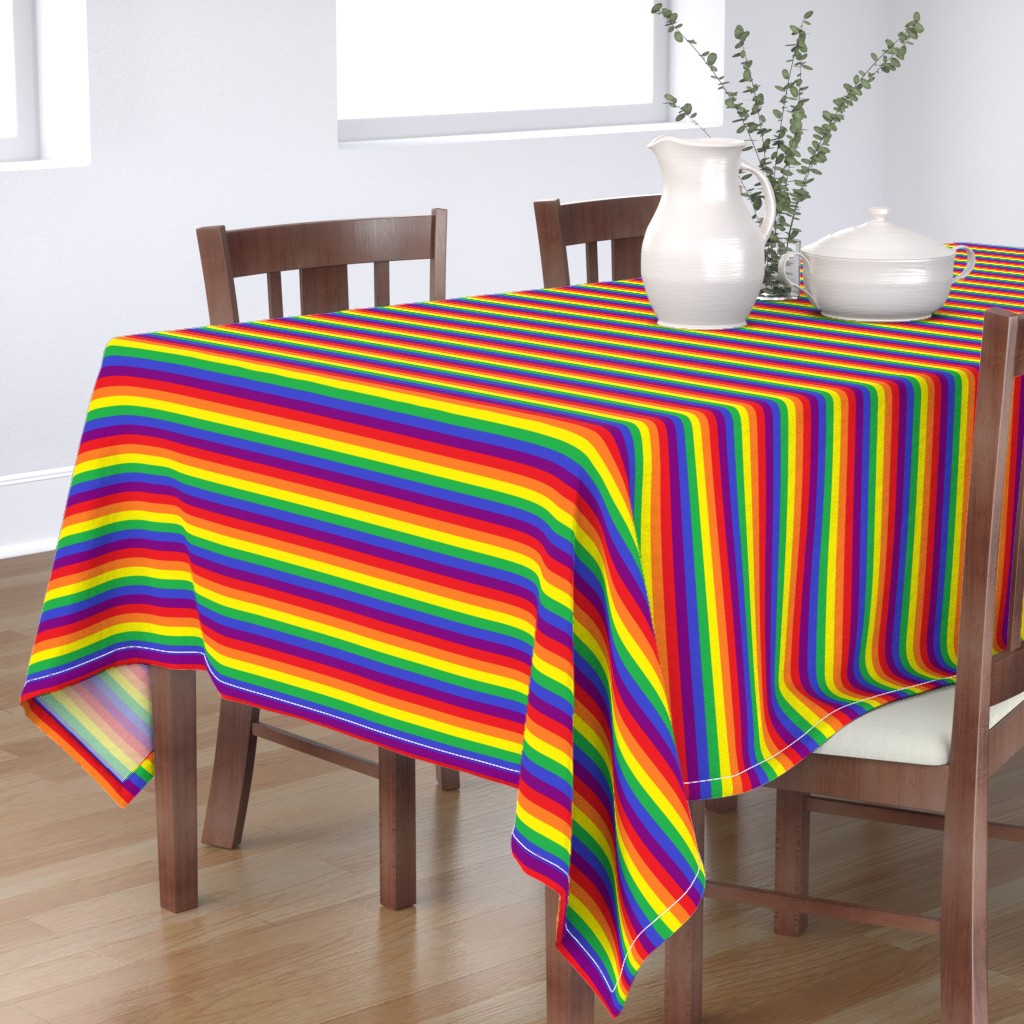 Bantam Rectangular Tablecloth featuring Rainbow Pride Stripes by abandonedwarehouse