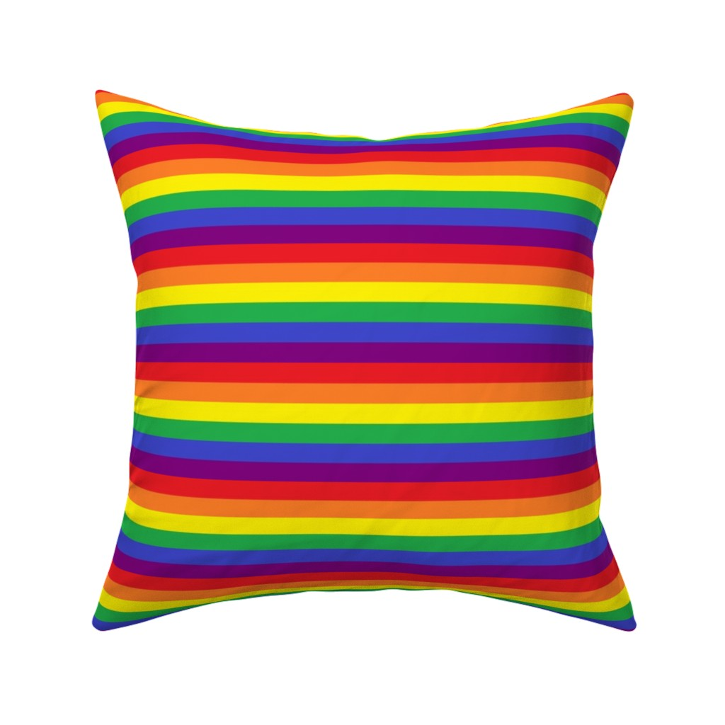 Catalan Throw Pillow featuring Rainbow Pride Stripes by abandonedwarehouse