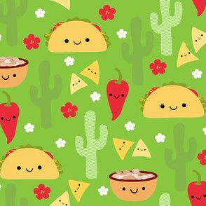 LARGE Happy Tacos and Friends Green