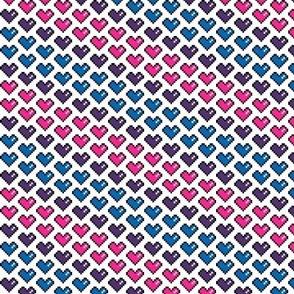 Pixels Hearts (pink, purple, blue)