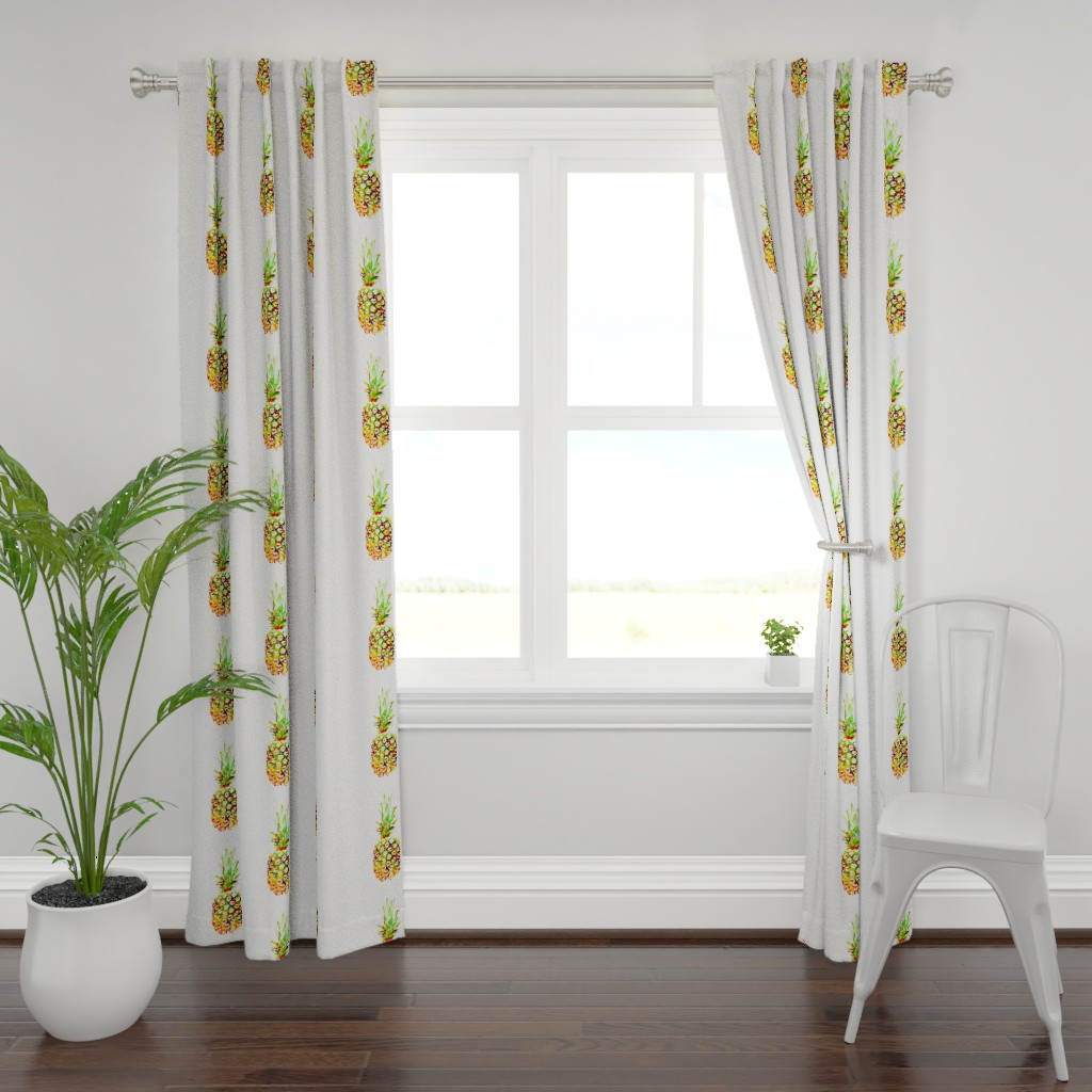 Plymouth Curtain Panel featuring Pineapple lg by daniellereneefalk