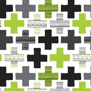 Colorful green lush gender neutral plus sign plus cross geometric modern aztec summer patterns