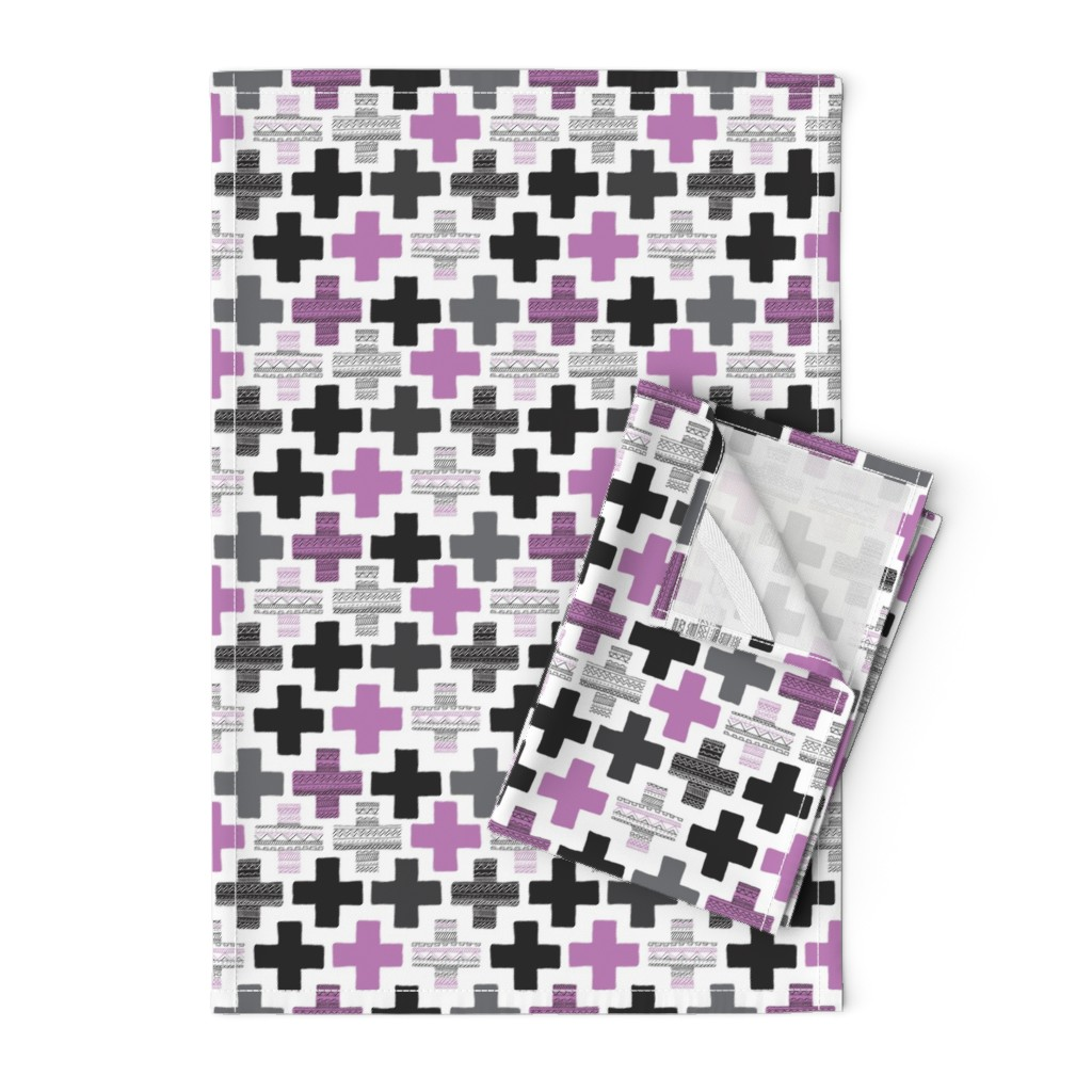 Orpington Tea Towels featuring Colorful plus sign plus cross geometric modern aztec summer pattern for girls by littlesmilemakers