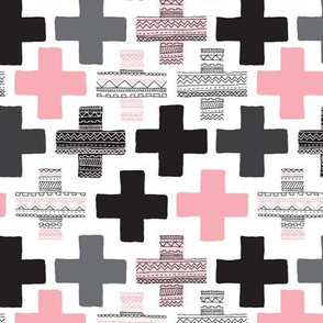 Pink plus sign cross geometric aztec modern pattern