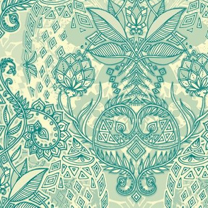 Emerald & Cream Geo Botanical Doodle
