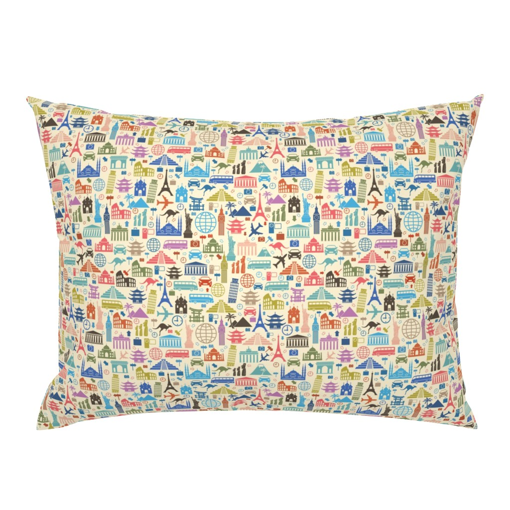 Campine Pillow Sham featuring Travel Icons by pinkpineappledesign
