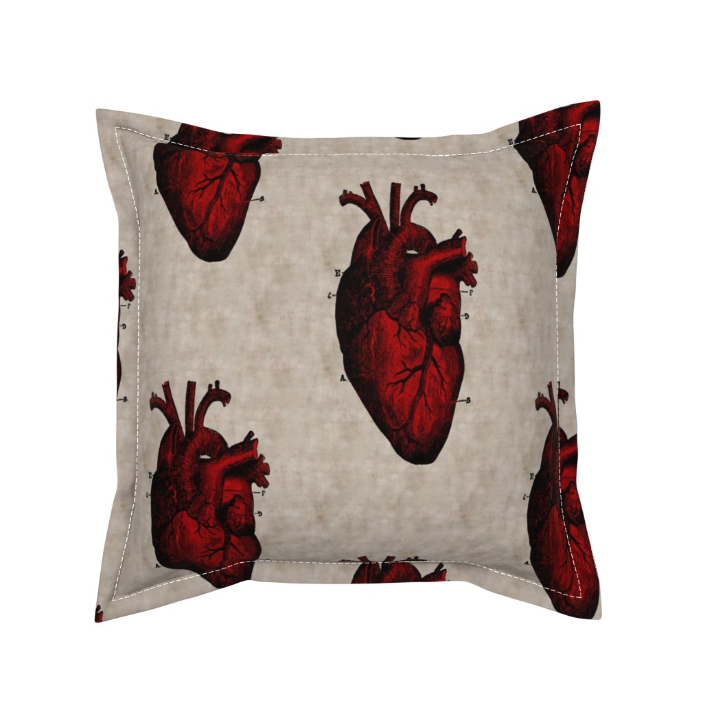 Serama Throw Pillow featuring Human Heart by mandamacabre