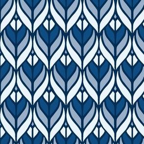 Blue art deco leafs  medium size