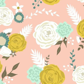 Summer blooms on pink