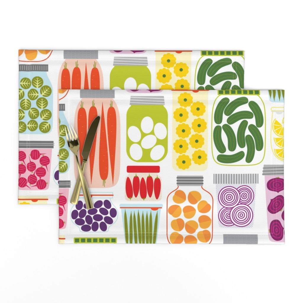 Lamona Cloth Placemats featuring pickled peppers and sprouts by katerhees