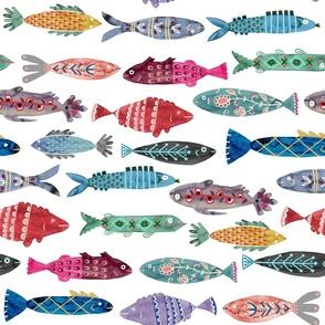Large Colorful Folk Fish