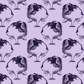 Frolicking Japanese Chin - purple