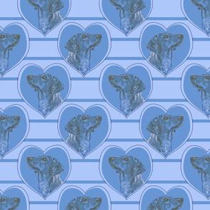 Dachshund heart portraits - blue