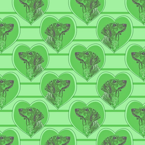 Dachshund heart portraits - green