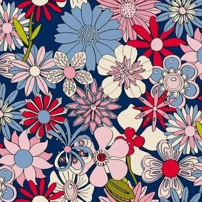 Chelsea (Red/White/Blue) || vintage 60s 70s enamel pin brooch flower floral garden pastel sheet illustration spring summer bouquet