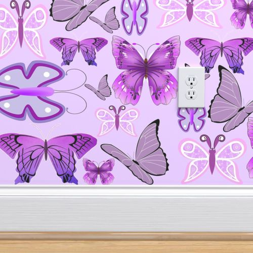 Purple Awareness Butterflies - Spoonflower